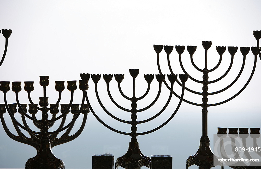 Hanoukias (Hanukkah menorahs), Galilee, Israel, Middle East