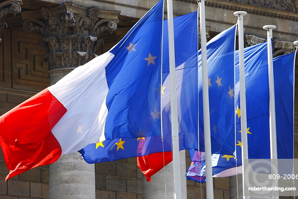 French and European flags, Paris, France, Europe