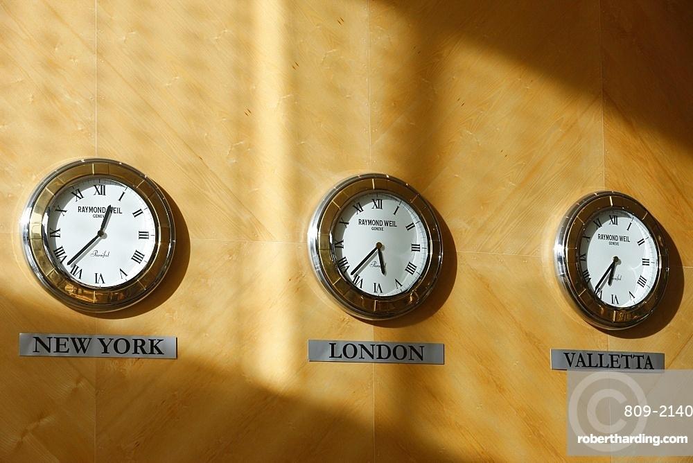 Hotel clocks, Valletta, Malta, Europe
