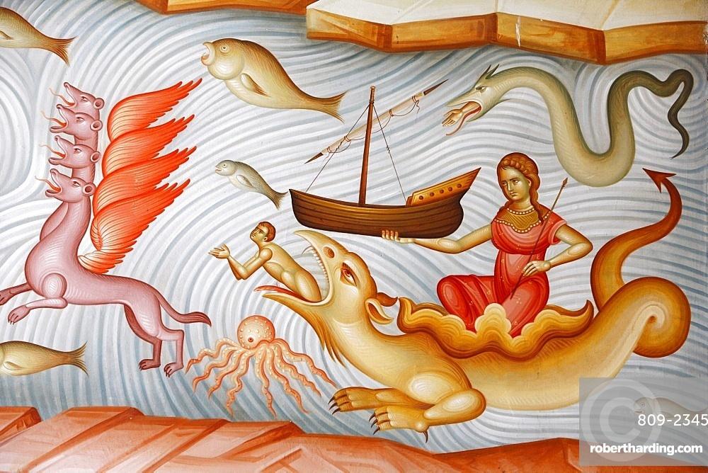 Detail of fresco in Capharnaum (Capernaum) Greek Orthodox church, Capharnaum, Galilee, Israel, Middle East