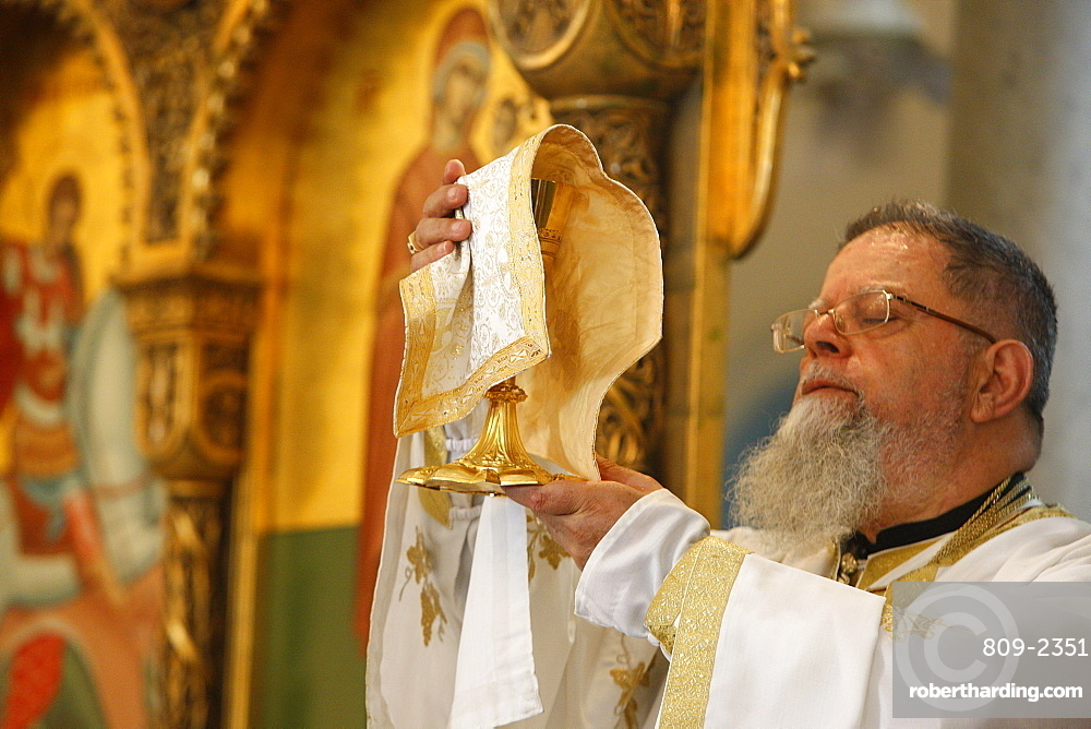 Sunday Mass in Haifa Melkite Cathedral celebrated by Bishop Elias Chacour, Haifa, Israel, Middle East