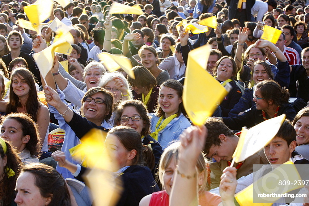 Crowd cheering Pope Benedict XVI outside Notre Dame cathedral, Paris, France, Europe