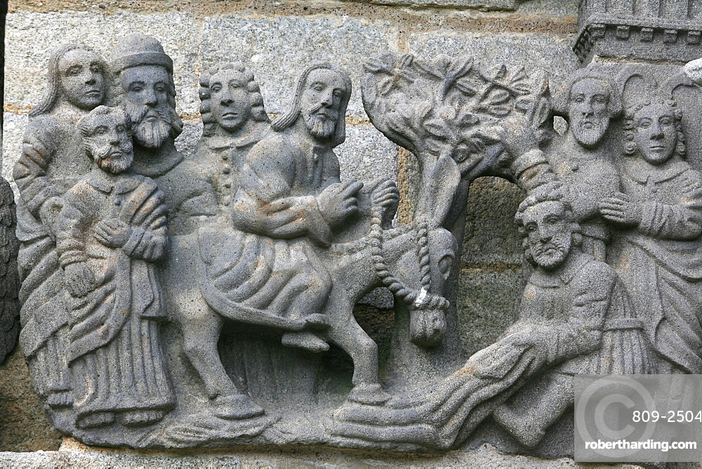 A scene from the Life of Jesus on the Guimiliau calvary, Guimiliau, Finistere, Brittany, France, Europe