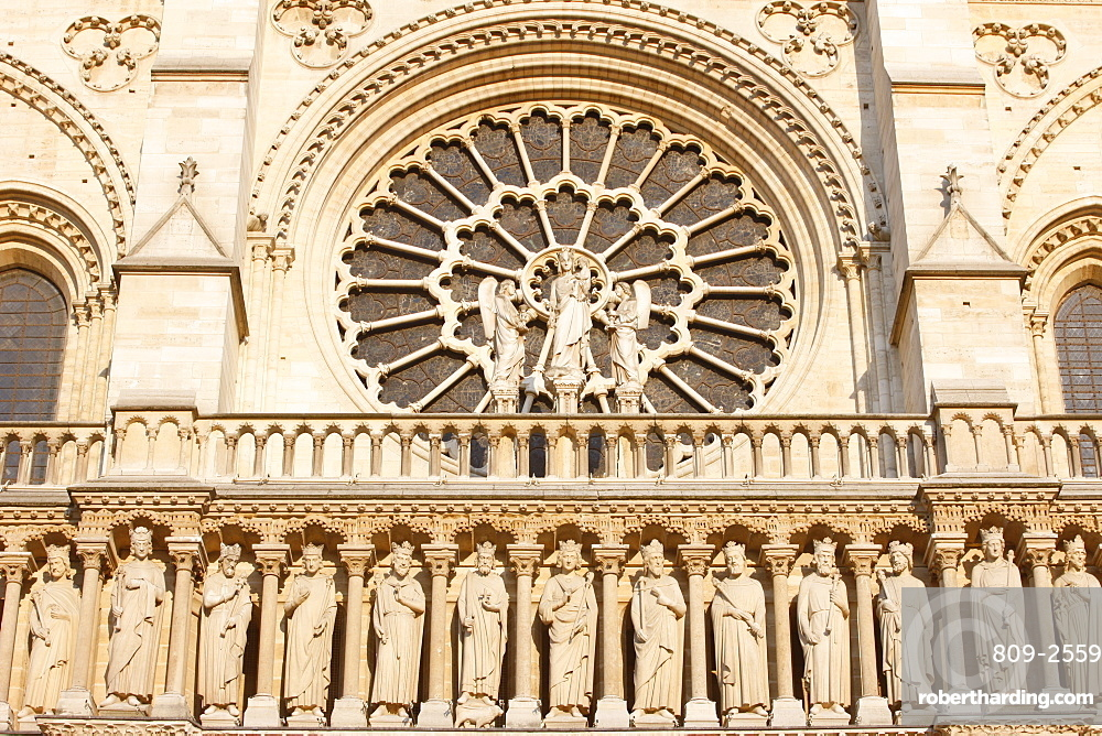 Kings Gallery, west front, Notre Dame Cathedral, UNESCO World Heritage Site, Paris, France, Europe