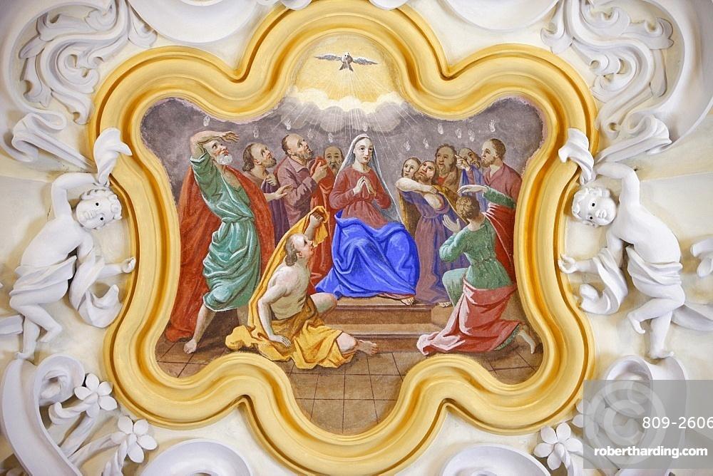 Virgin and Holy Ghost in Saint-Nicolas de Veroce church, Haute Savoie, France, Europe