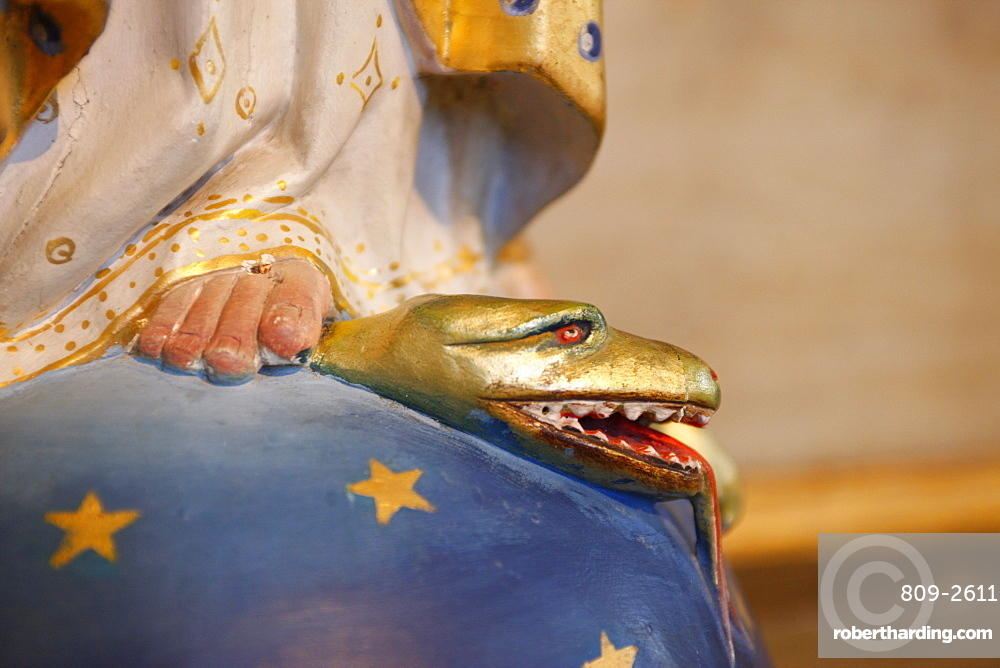 Virgin trampling evil snake in Saint-Nicolas de Veroce church, Haute Savoie, France, Europe