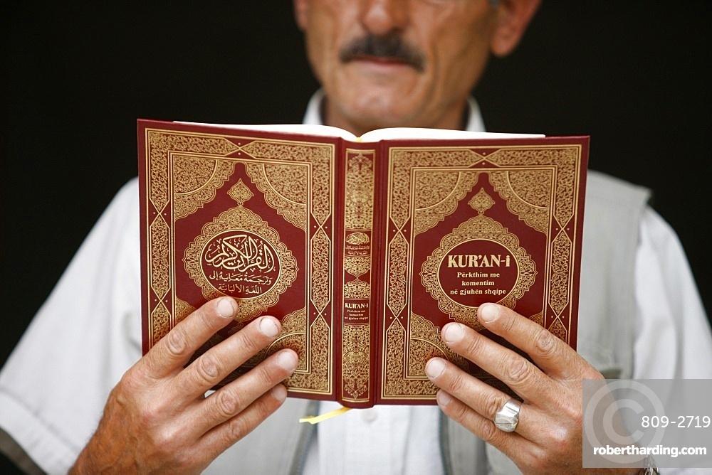 Bektachi reading Koran, Kruja, Albania, Europe
