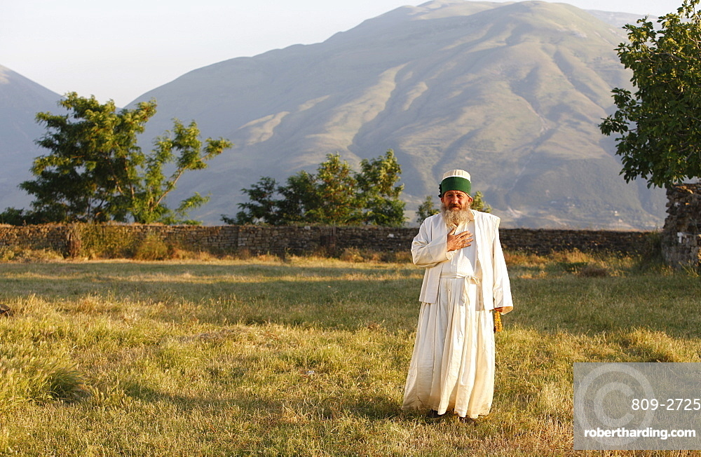 Baba Avdul in the garden of his tekke, Koshtan, Tepelene, Albania, Europe