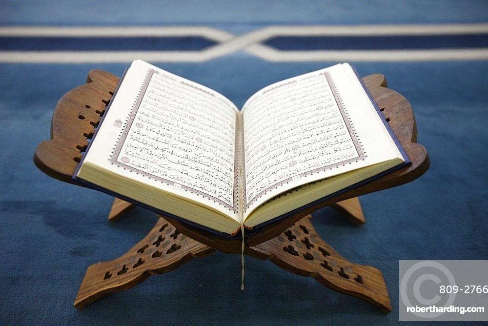 Koran on stand, Dubai, United Arab Emirates, Middle East