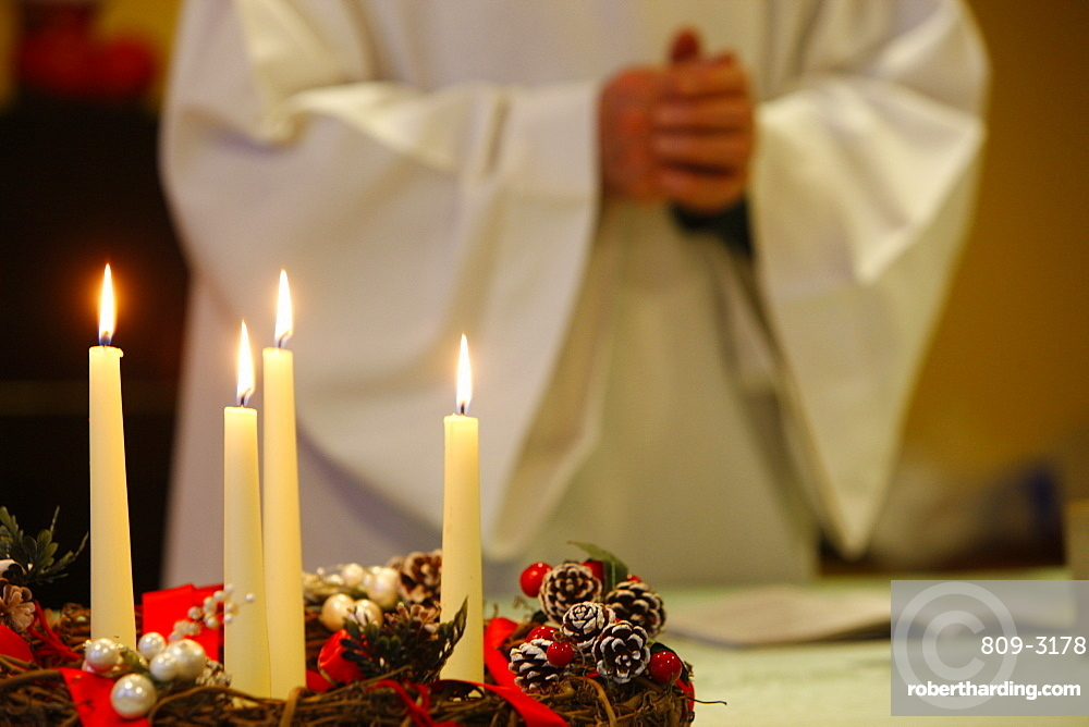 Advent candles, Chedde, Haute Savoie, France, Europe