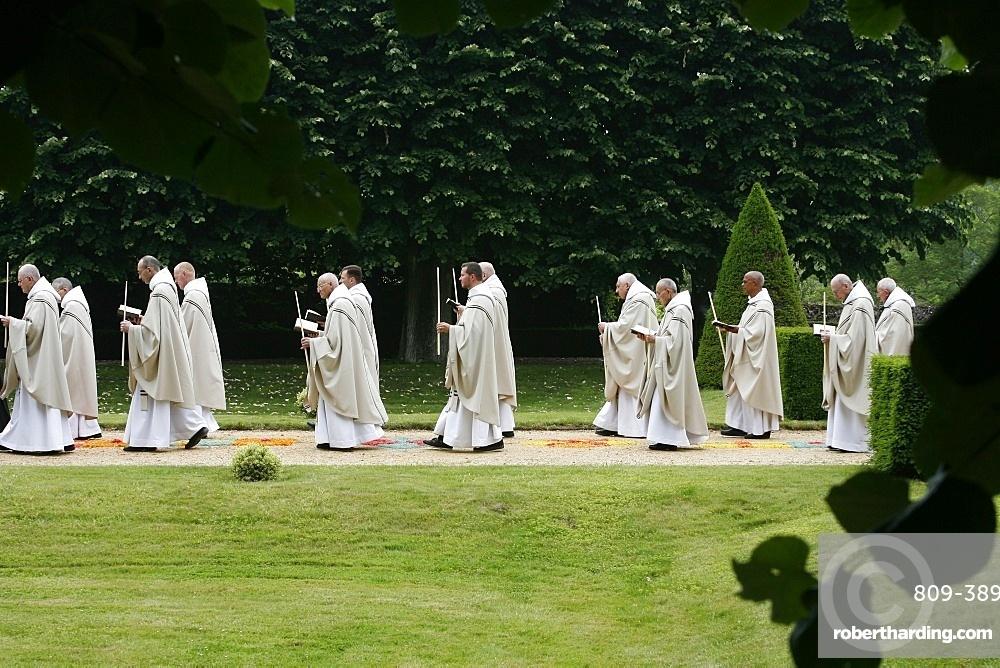 Procession in Saint-Pierre de Solesmes Abbey, Solesmes, Sarthe, Pays de la Loire, France, Europe