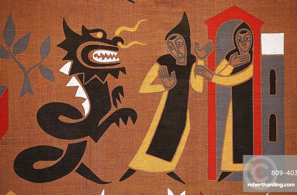 Tapestry depicting the life of St. Benedict, Saint-Pierre de Solesmes Abbey, Solesmes, Sarthe, Pays de la Loire, France, Europe
