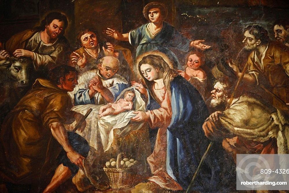 Nativity painting in Iglesia ex-conventual de Ntra. Sra del Carmen, Antequera, Andalucia, Spain, Europe