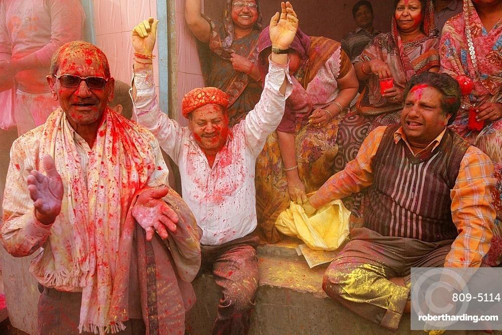 Celebrating Holi festival, Barsana, Uttar Pradesh, India, Asia