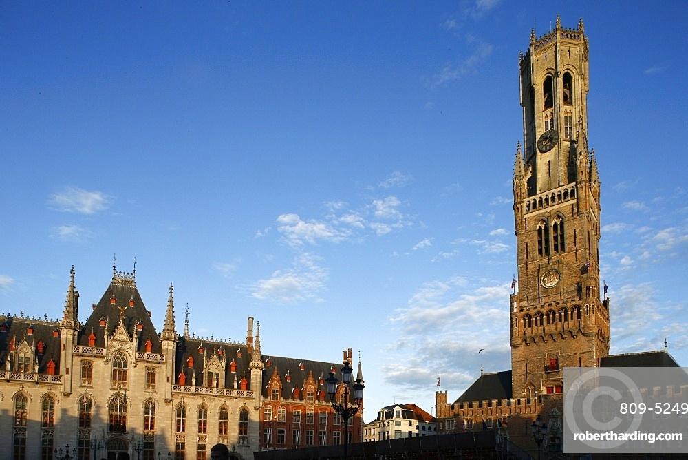 Belfry tower in market square, Bruges, West Flanders, Belgium, Europe