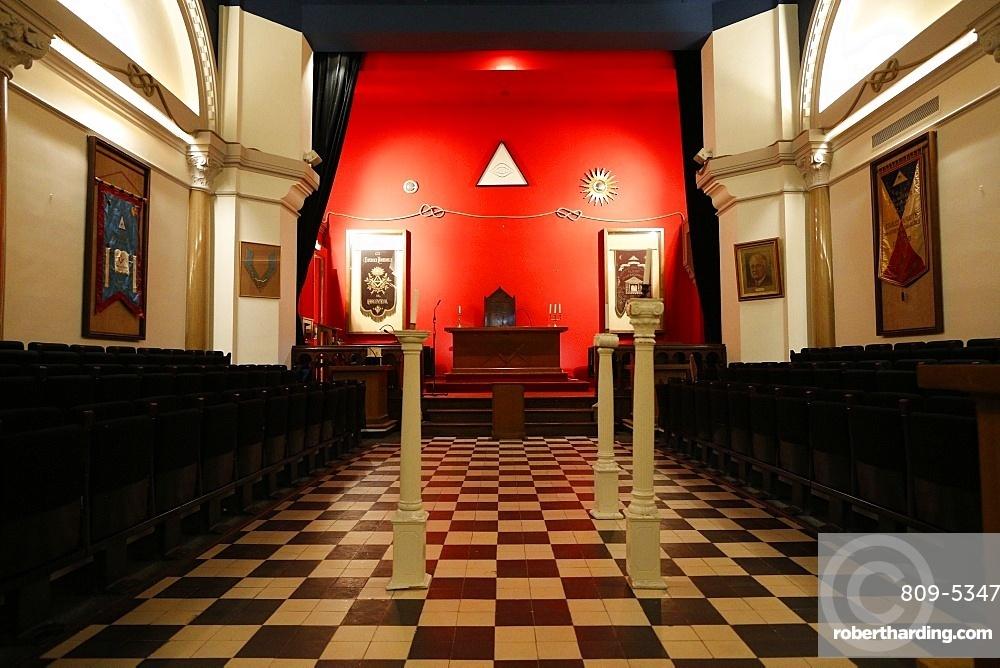 The Franklin Delano Roosevelt masonic lodge room in the Grande Loge de France, Paris, France, Europe