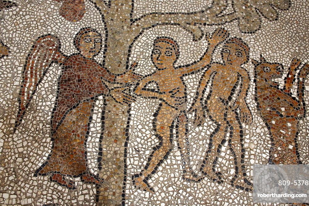 Mosaic of Adam and Eve after the fall, on the floor of the central nave, Otranto Duomo (Cathedral), Otranto, Lecce, Apulia, Italy, Europe