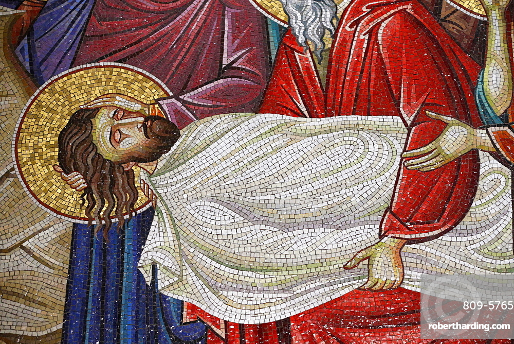 Detail of mosaic which depicts the burial of Jesus Christ, Holy Sepulchre Church, Jerusalem, Israel, Middle East