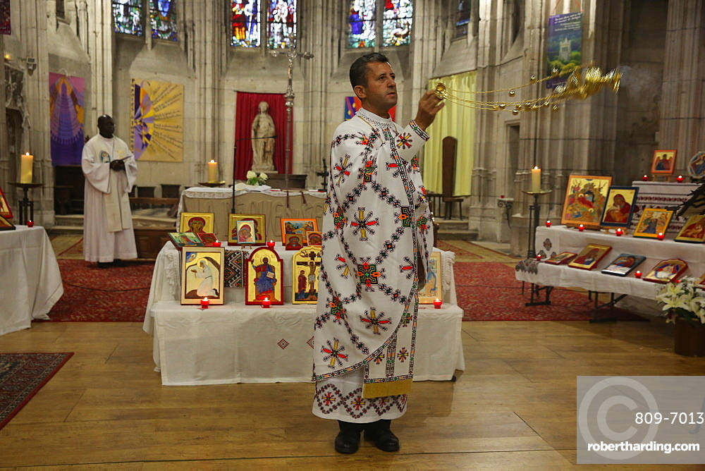Mass celebrated by Melkite (Greek-Catholic) and Catholic priests in Sainte Foy Church, Conches, Eure, France, Europe