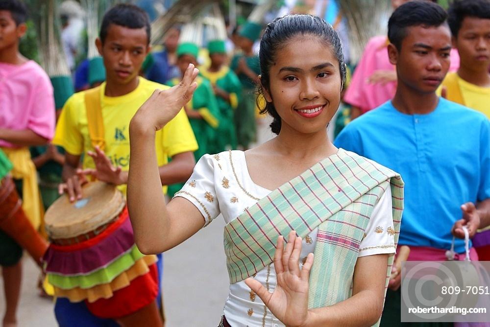 Assumption Catholic procession in Battambang, Cambodia, Indochina, Southeast Asia, Asia