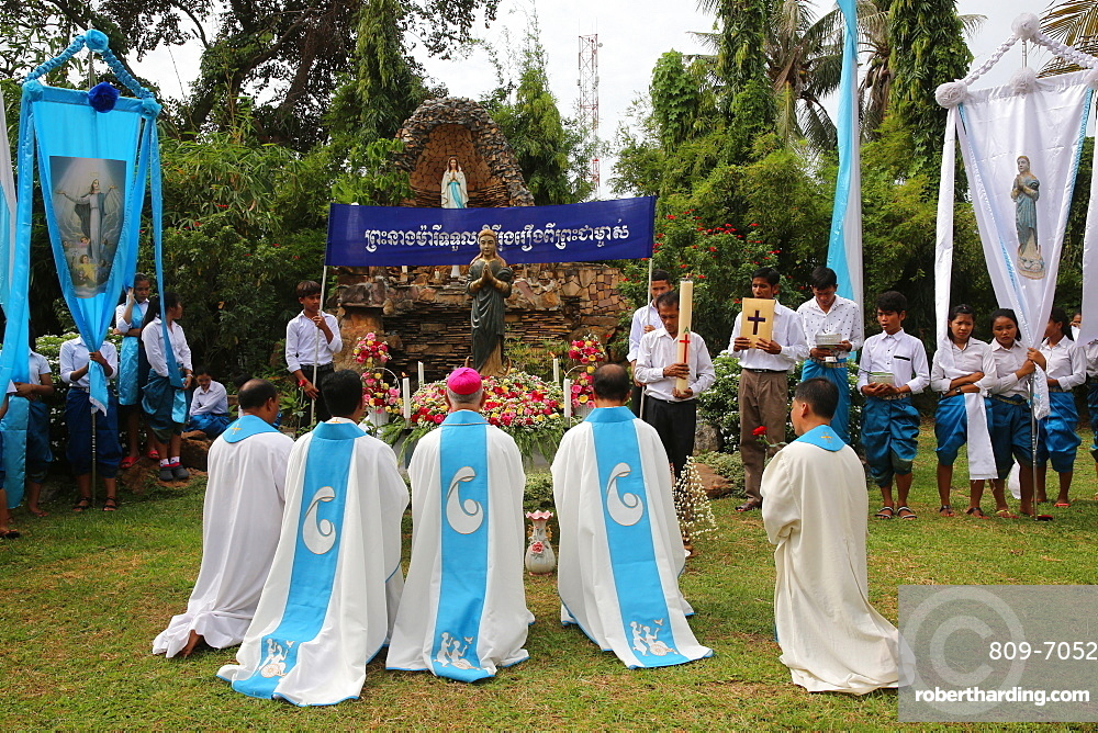 Assumption celebration outside Battambang Catholic church, Battambang, Cambodia, Indochina, Southeast Asia, Asia