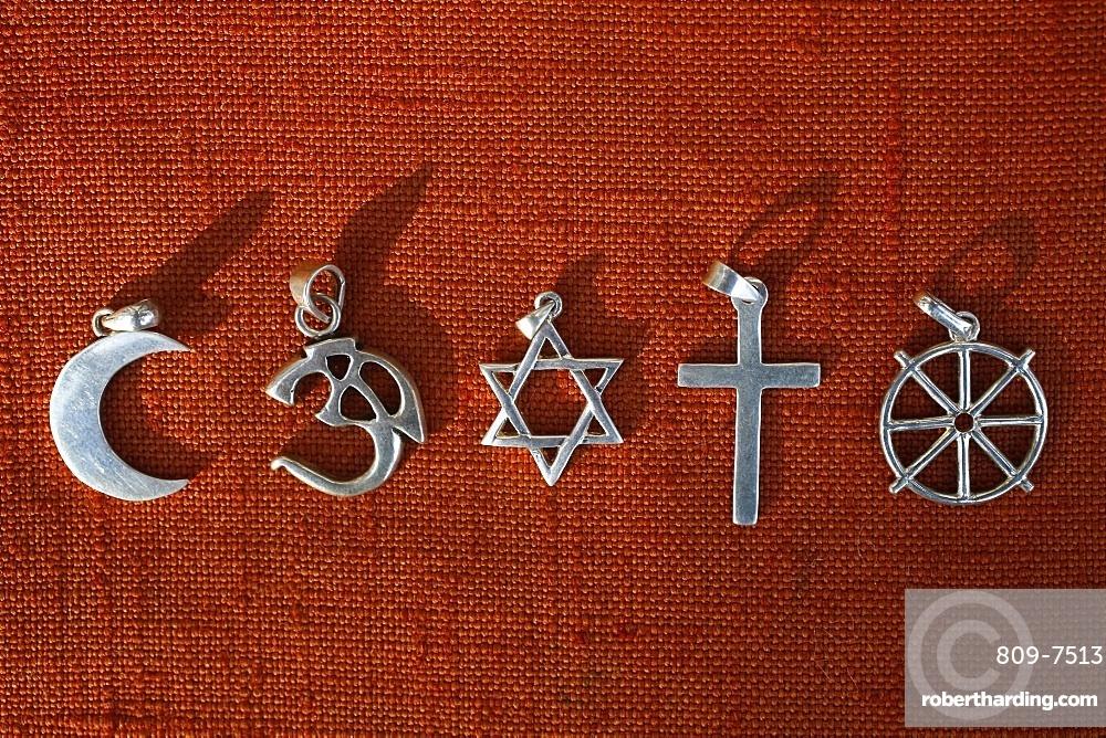 Symbols of five religions, Islam, Hinduism, Judaism, Christianity, Buddhism, France, Europe