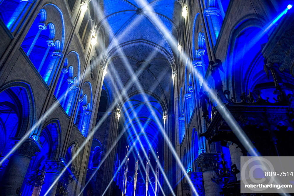 Sound and light show at Notre Dame Cathedral, Paris, France, Europe