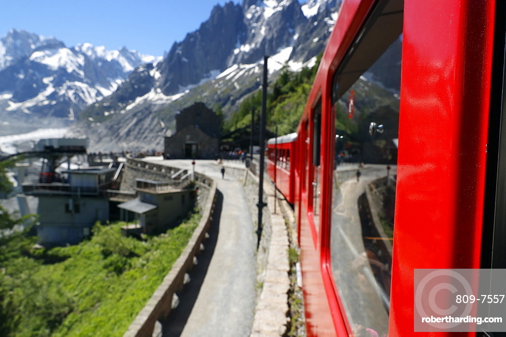 Mont-Blanc massif in the French Alps, the Montenvers Railway from Chamonix to the Mer de Glace glacier, Haute Savoie, France, Europe