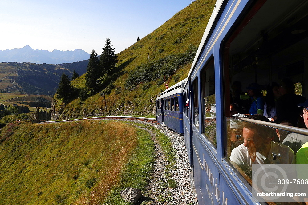 The Mont Blanc Tramway (TMB), the highest mountain railway line in France, French Alps, Saint-Gervais, Haute-Savoie, France, Europe
