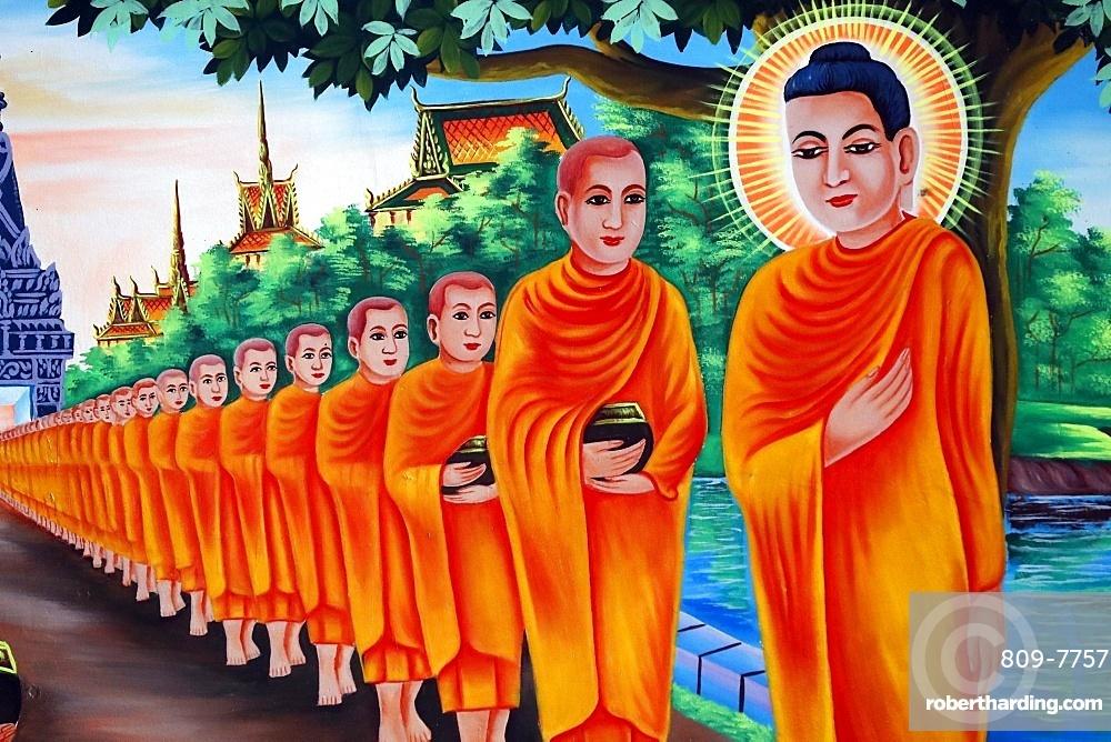 The Life of the Buddha, Siddhartha Gautama, mural showing a visit to Rajagaha City, where the Buddha went for alms, Chau Doc, An Giang, Vietnam, Indochina, Southeast Asia, Asia