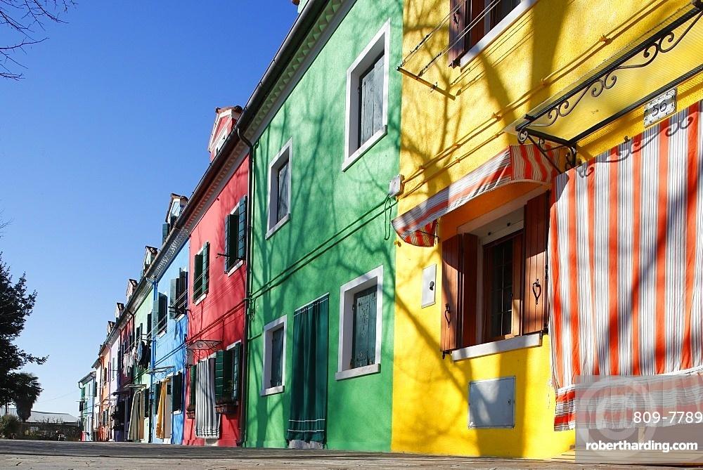 Multi colored houses in Burano village, Venice, Veneto, Italy, Europe