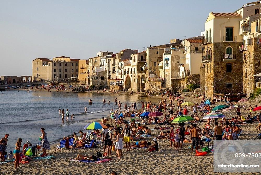 Cefalu beach, Sicily, Italy, Mediterranean, Europe