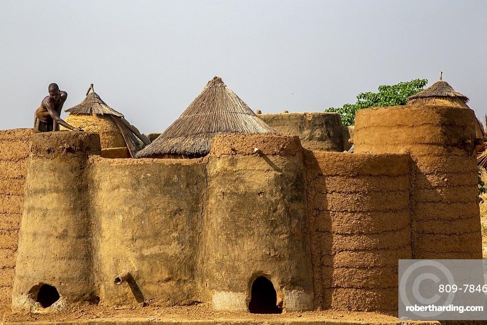 Batammariba house building in a Koutammakou village in North Togo, West Africa, Africa