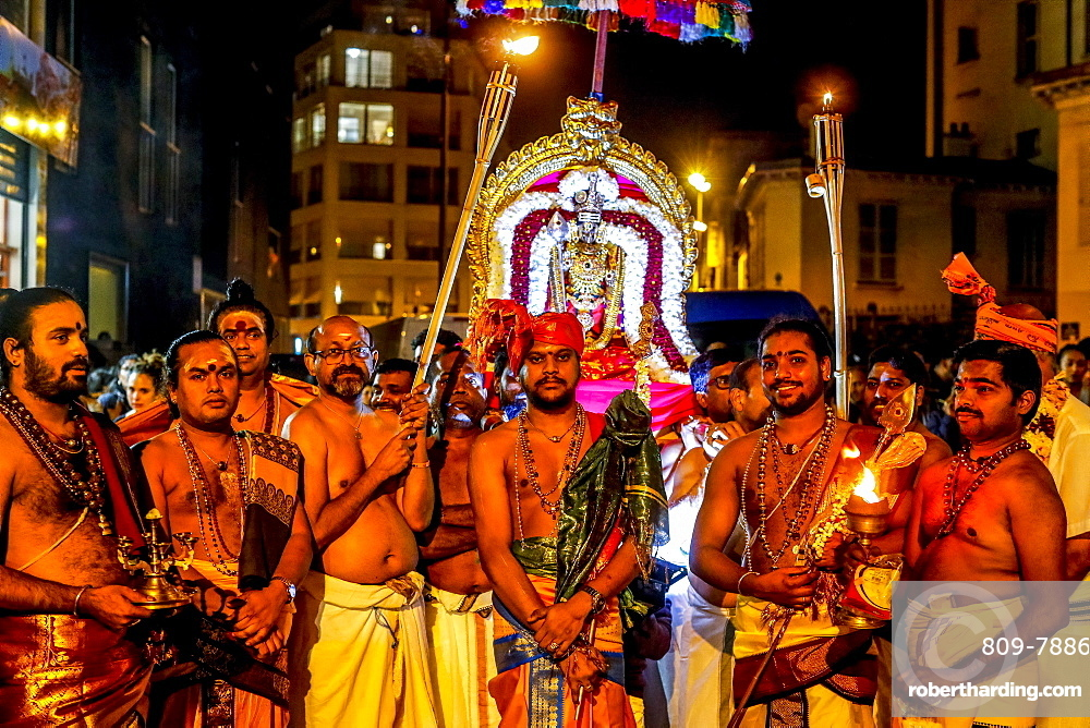 Tamil Hindus celebrating a festival for Muruga (Ganesha's brother) in Paris, France, Europe