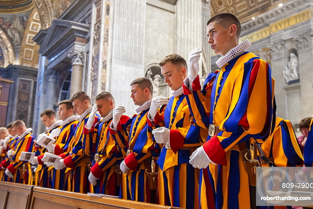 Holy Mass at the altar of the Chair of St. Peter's Basilica for the 23 new guards who will take the solemn oath, Vatican City, Rome, Lazio, Italy, Europe