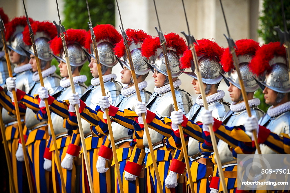 Annual swearing-in ceremony for the new papal Swiss Guards, Vatican City, Rome, Lazio, Italy, Europe