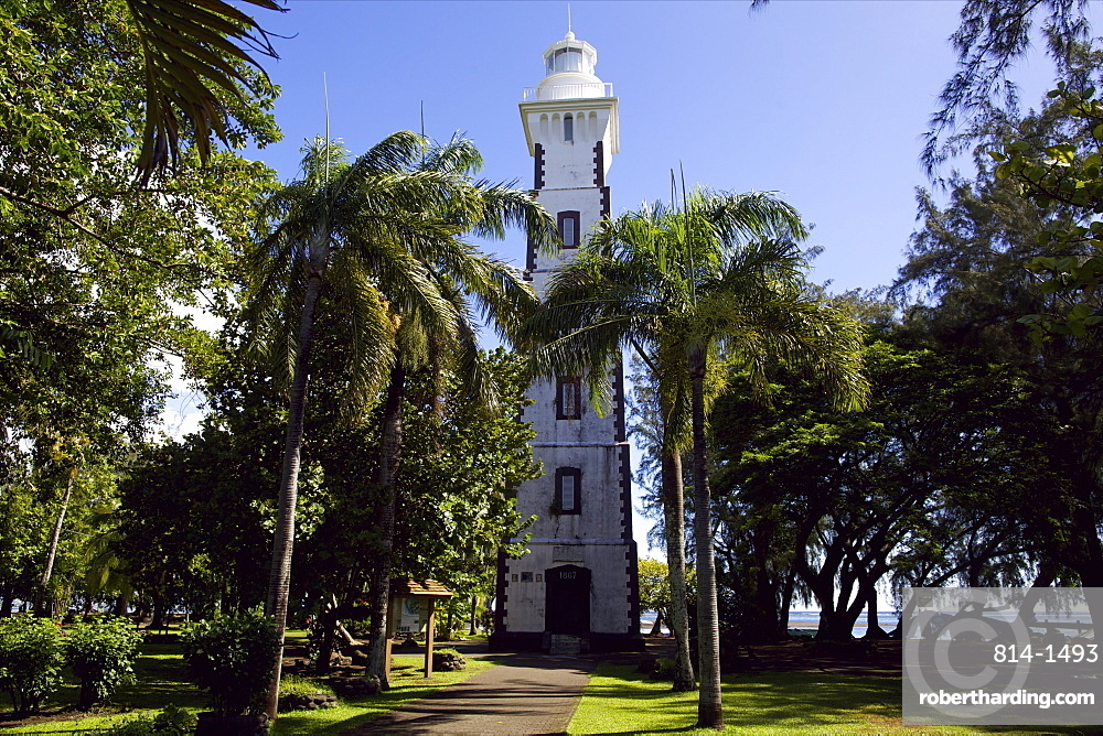 A lighthouse on the east coast of Tahiti island, Society Islands, French Polynesia, Pacific Islands, Pacific