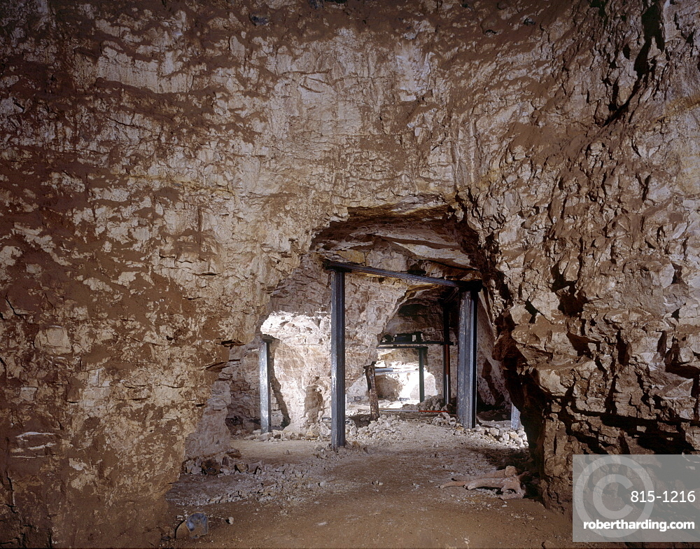 Greenwell's shaft, Neolithic flint mine, Grimes Graves, Norfolk, England, United Kingdom, Europe