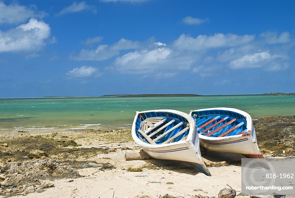 Fishing boats on the island of Rodrigues, Mauritius, Indian Ocean, Africa