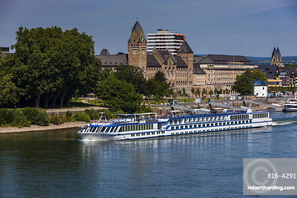 Cruise ship in Koblenz on the Rhine, Rhineland-Palatinate, Germany, Europe