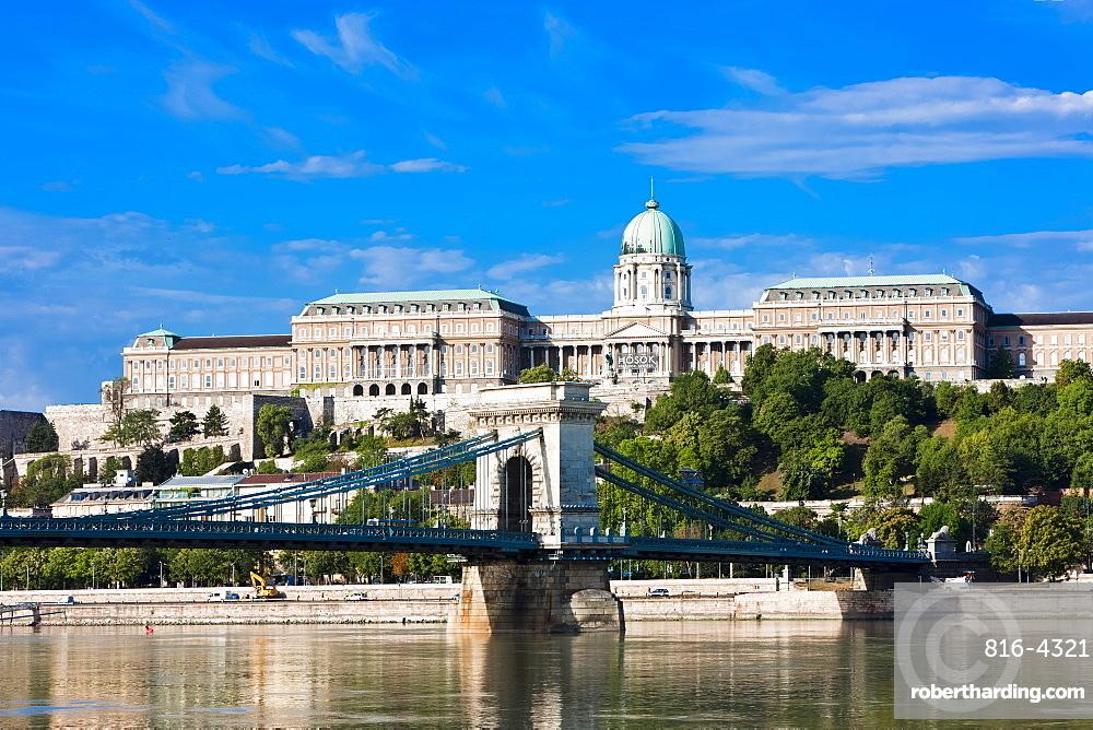Buda castle above the River Danube, Budapest, Hungary, Europe