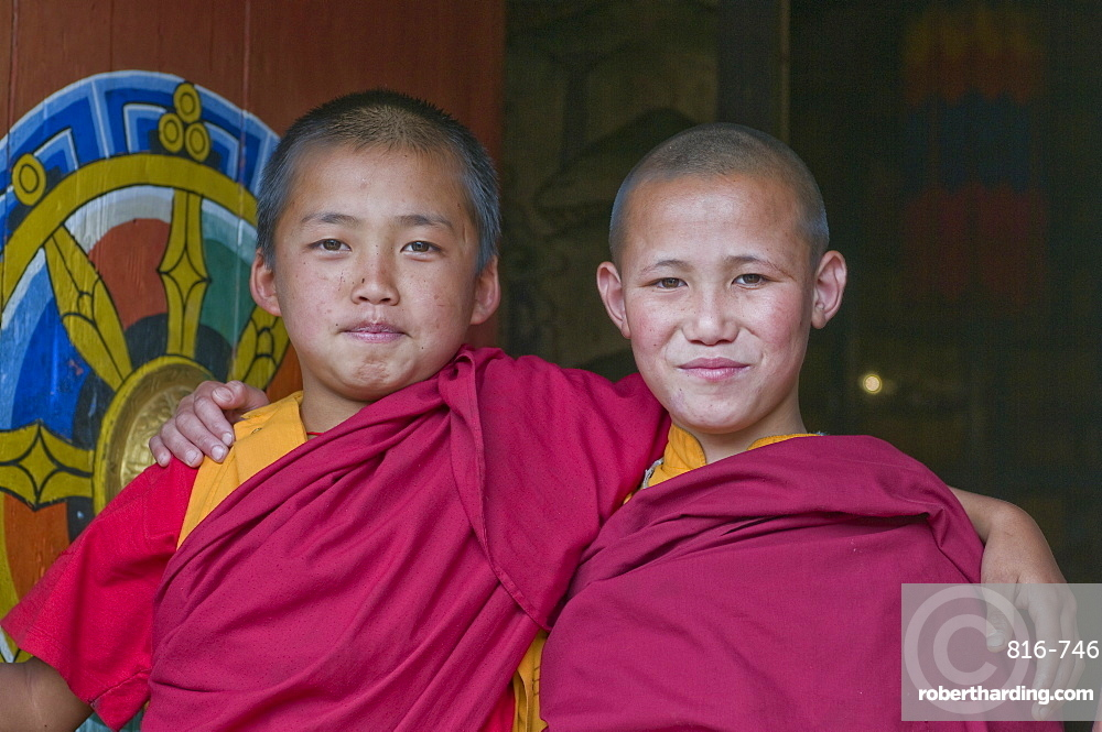 Happy Buddhist monks, Chimi Lhakhang, Bhutan, Asia