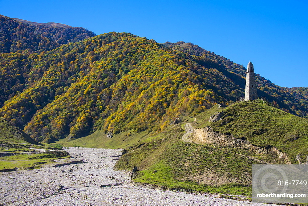 Watchtower in the Chechen Mountains, Chechnya, Caucasus, Russia, Europe