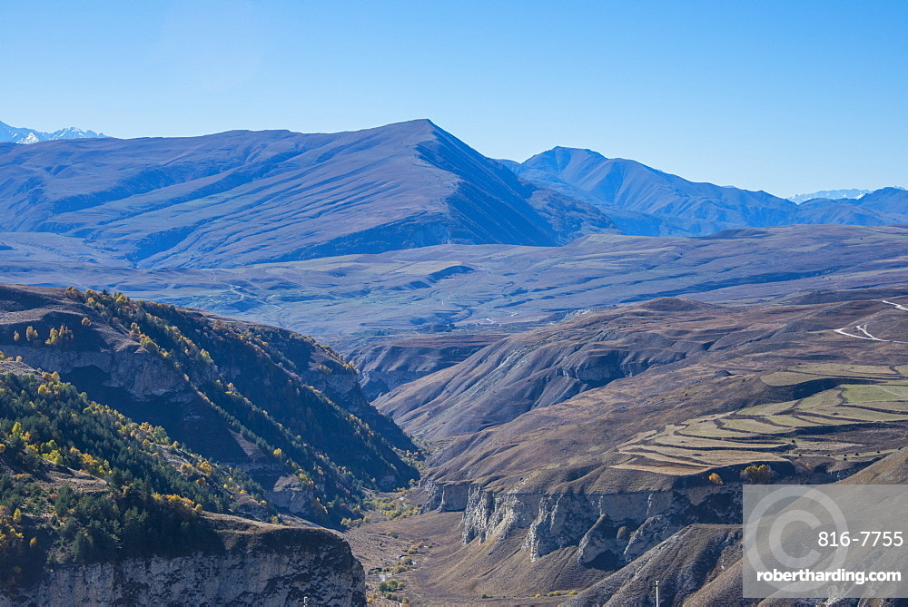 View over the Chechen Mountains, Chechnya, Caucasus, Russia, Europe