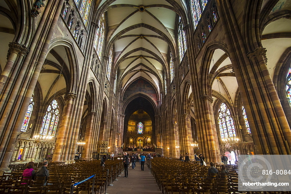 Interior view, Strasbourg Cathedral, UNESCO World Heritage Site, Strasbourg, Alsace, France, Europe