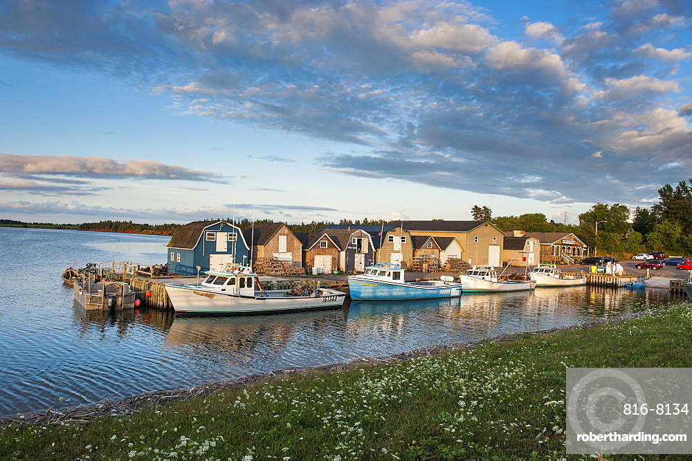 Little fishing boats in Stanley Bridge Harbour, Prince Edward Island, Canada, North America