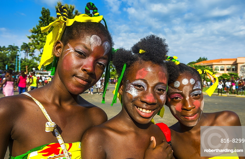 Friendly girls at the Carneval in the town of Sao Tome, Sao Tome and Principe, Atlantic Ocean, Africa