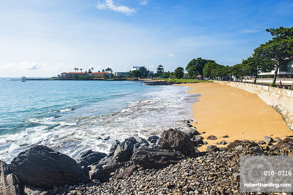 Beach in front of the Pestana five star hotel in the city of Sao Tome, Sao Tome and Principe, Atlantic Ocean, Africa