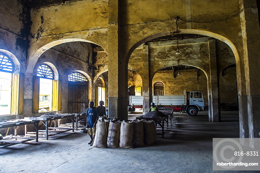 Old buildings in the Cocoa plantation Roca Aguaize, East coast of Sao Tome, Sao Tome and Principe, Atlantic Ocean, Africa