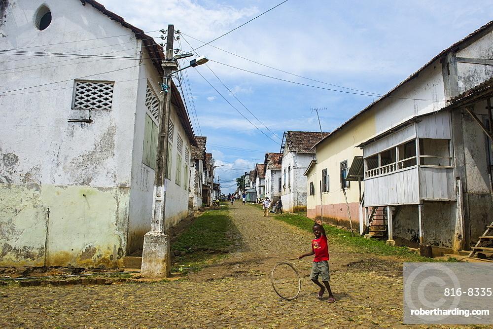 Old settlement in the Cocoa plantation Roca Aguaize, East coast of Sao Tome, Sao Tome and Principe, Atlantic Ocean, Africa